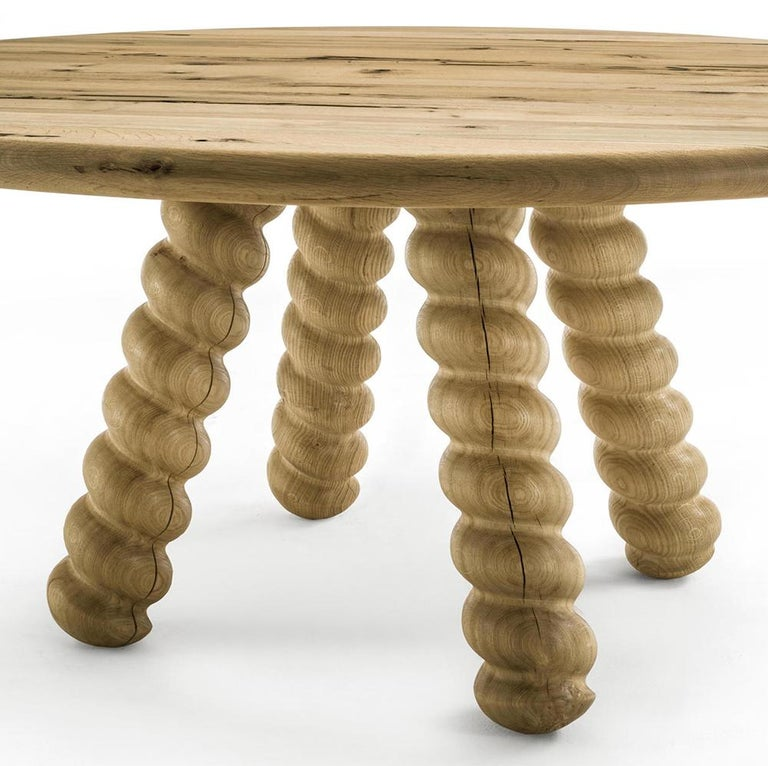 Italian Spirale Dining Table in Solid Raw Oak For Sale