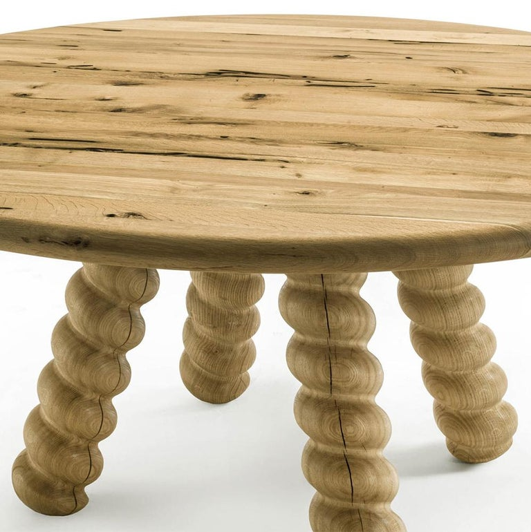 Hand-Crafted Spirale Dining Table in Solid Raw Oak For Sale