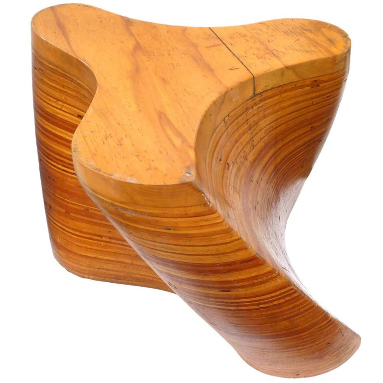 Spiraling Stack, Laminated, Wood Side Table For Sale