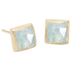 Spirit Aquamarine Gold 18 Karat Stud Earrings