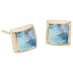 Spirit Blue Topaz Gold 18 Karat Stud Earrings