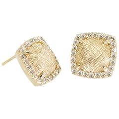 Spirit Lace Pave Diamond 18 Karat Gold Stud Earrings