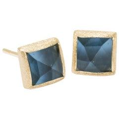 Spirit London Blue Topaz Gold 18 Karat Stud Earrings