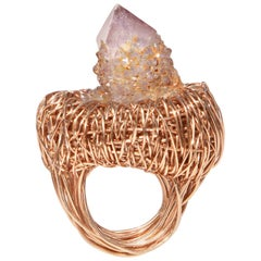 Spirit Quartz Rose Gold Woven Statement Cocktail Ring by Sheila Westera in Stock