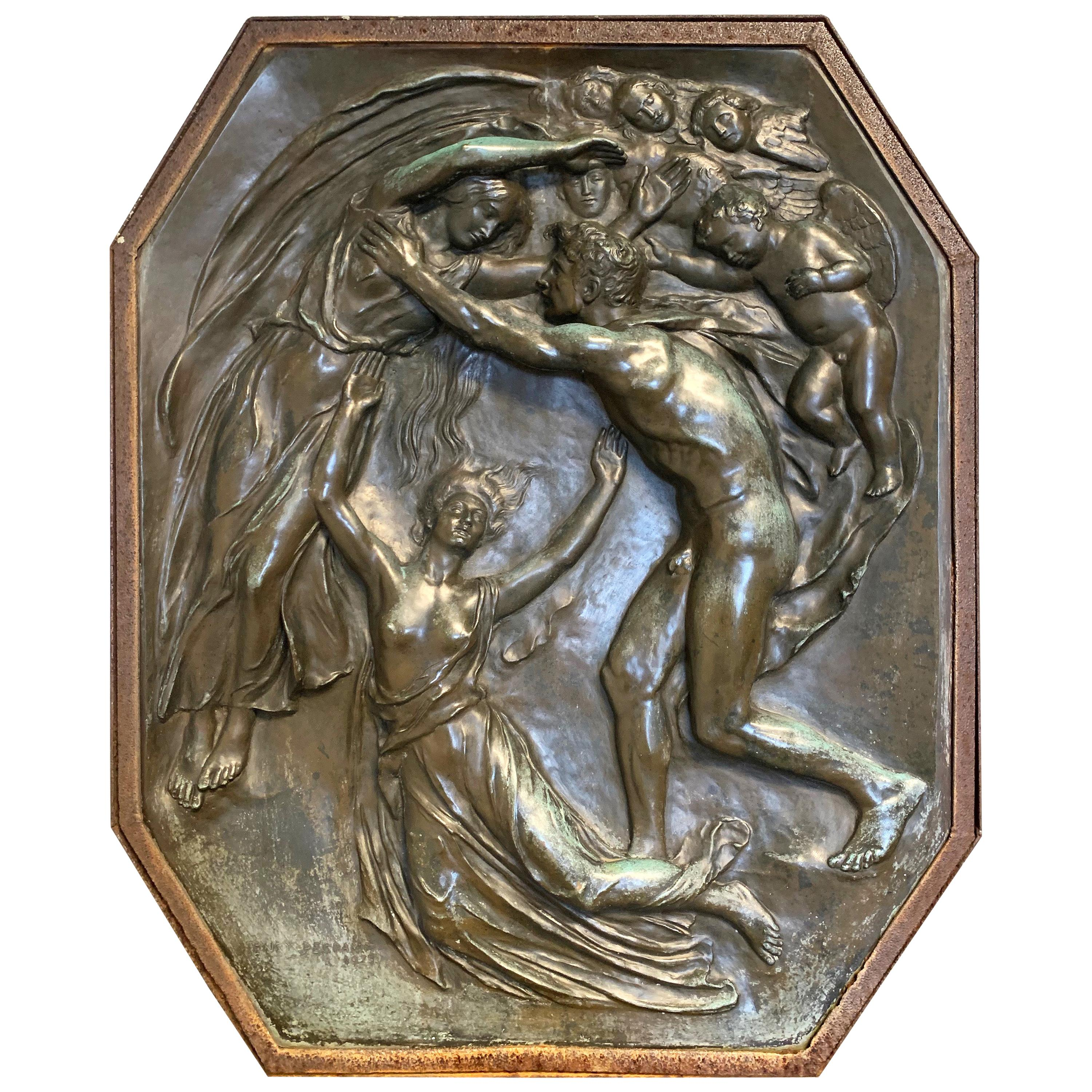 """""""Spirit Rising,"""" Large Sculptural Relief Masterpiece with Male Nude by Pegram"""