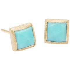 Spirit Turquoise Gold 18 Karat Stud Earrings