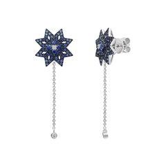 Spiritual Jewellery Star Blue Sapphire White Diamond White Gold Dangle Earrings