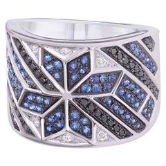 Spiritual Jewellery Star Blue Sapphire White Diamond White Gold Ring
