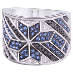Spiritual Jewellery Star Blue Sapphire White Diamond White Gold Ring