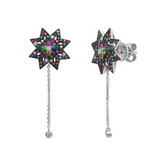 Spiritual Jewellery Star Yellow Orange Pink Sapphire Diamond White Gold Earrings