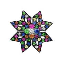 Spiritual Jewellery Star Yellow Orange Pink Sapphire Diamond White Gold Pendant