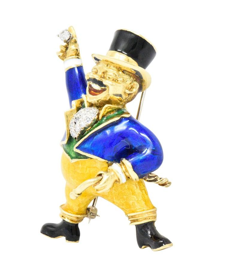Brilliant Cut Spritzer & Fuhrmann Retro Diamond Enamel 18 Karat Gold Circus Ring Master Brooch For Sale
