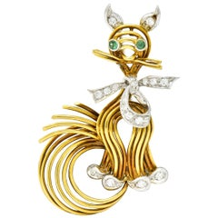 Spitzer & Furman Vintage Diamond Emerald Platinum 18 Karat Gold Cat Brooch