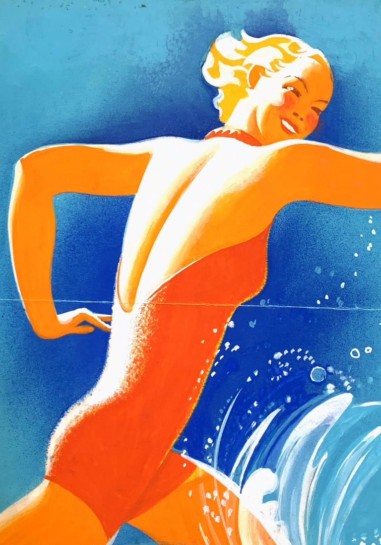 Painted in vivid, glowing colors by Robin Artine Smith, this depiction of a 1940-era blonde in a tangerine-hued swimsuit striding into the surf is a superb example of sophisticated, high-energy Art Deco graphic art. Probably painted for a poster or