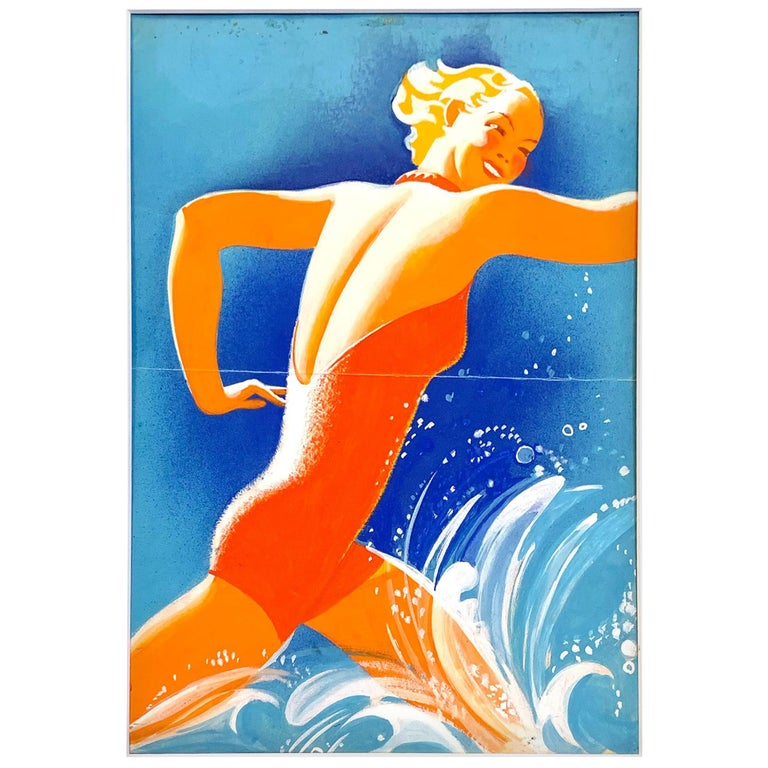 """Splashing in the Waves,"" Art Deco Seaside Painting by Texas Artist For Sale"