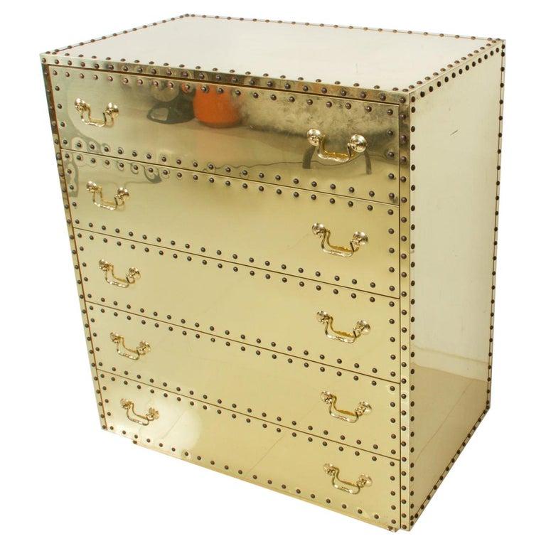 Splashy Brass Studded Highboy Dresser by Sarreid Ltd of Spain 1970s Hip Regency For Sale