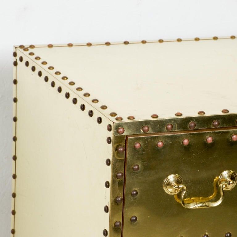 Spanish Splashy Brass Studded Highboy Dresser by Sarreid Ltd of Spain 1970s Hip Regency For Sale