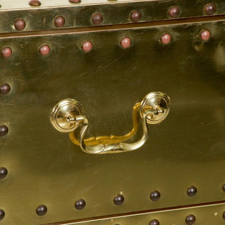 Splashy Brass Studded Highboy Dresser by Sarreid Ltd of Spain 1970s Hip Regency In Good Condition For Sale In National City, CA