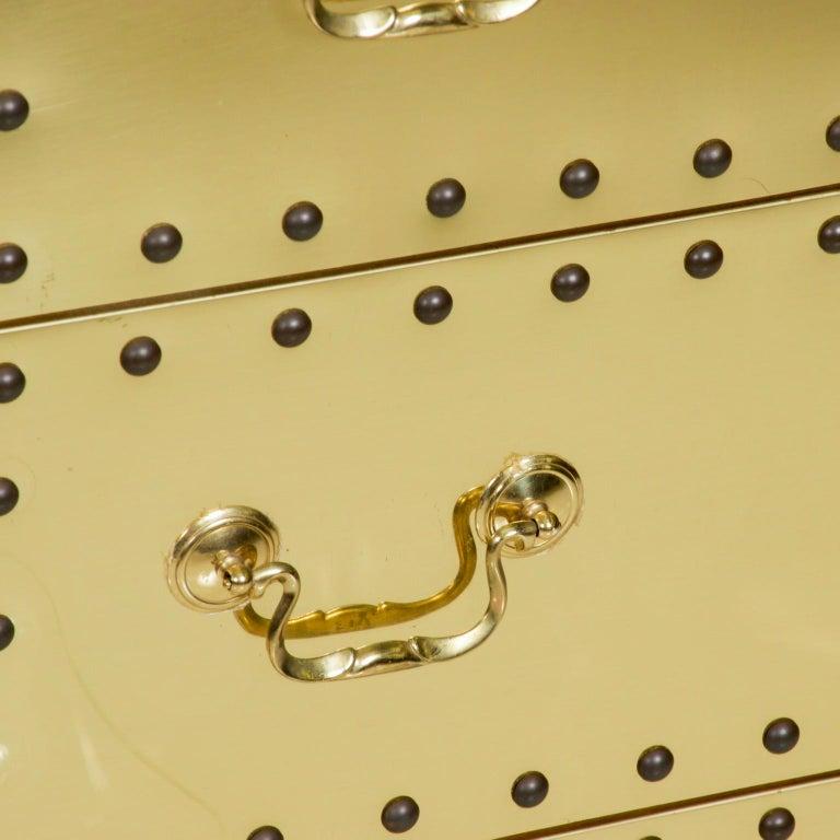 Late 20th Century Splashy Brass Studded Highboy Dresser by Sarreid Ltd of Spain 1970s Hip Regency For Sale