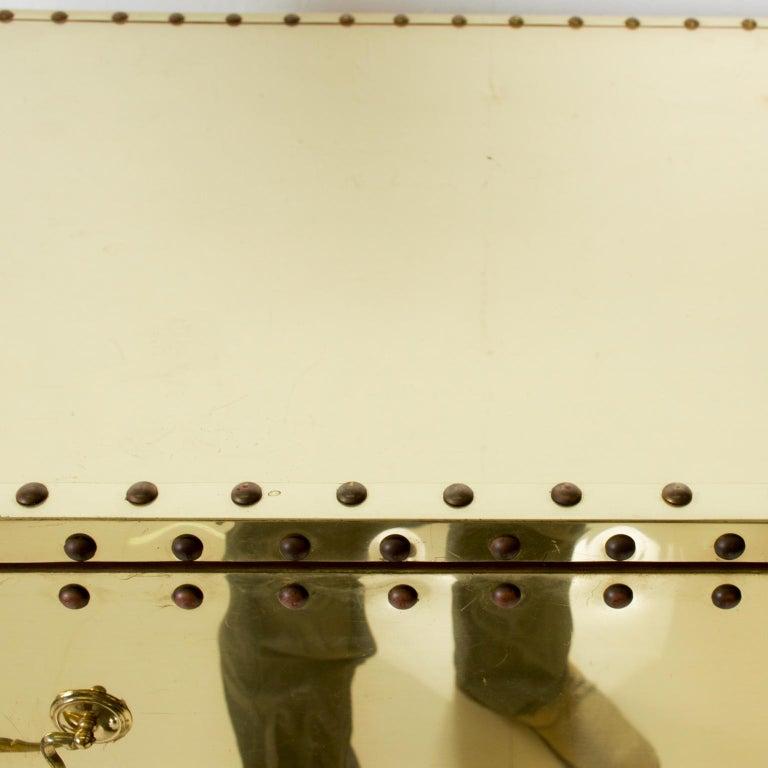 Splashy Brass Studded Highboy Dresser by Sarreid Ltd of Spain 1970s Hip Regency For Sale 1