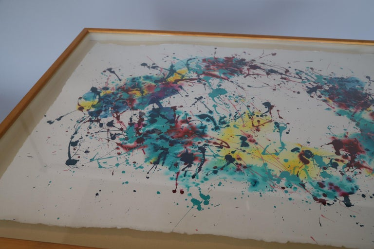 Mid-Century Modern Splatter Abstract Oil and Watercolor on Paper For Sale