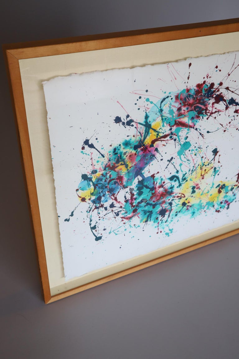 American Splatter Abstract Oil and Watercolor on Paper For Sale