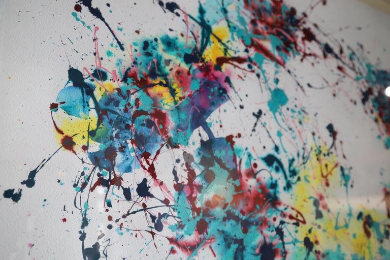 20th Century Splatter Abstract Oil and Watercolor on Paper For Sale