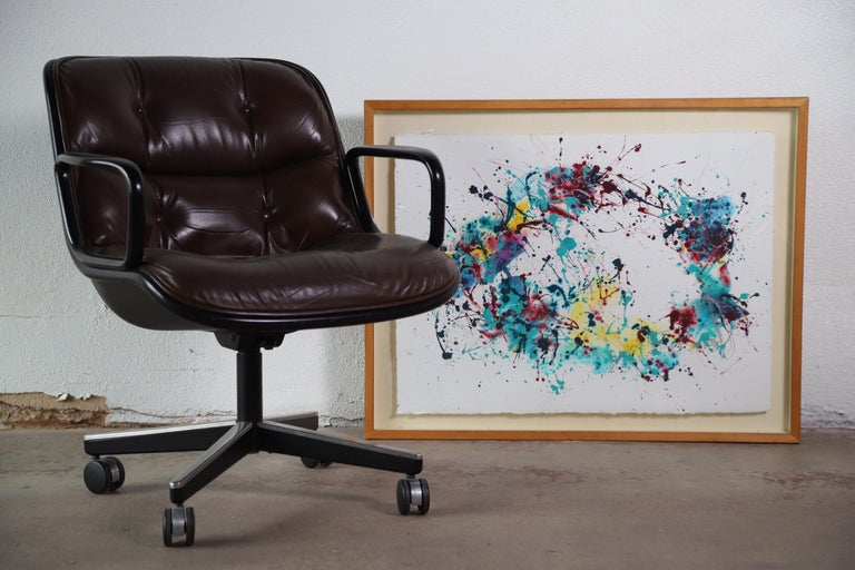 Splatter Abstract Oil and Watercolor on Paper For Sale 2