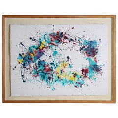 Splatter Abstract Oil and Watercolor on Paper