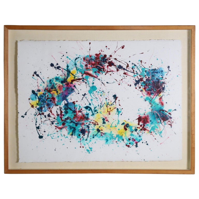 Splatter Abstract Oil and Watercolor on Paper For Sale