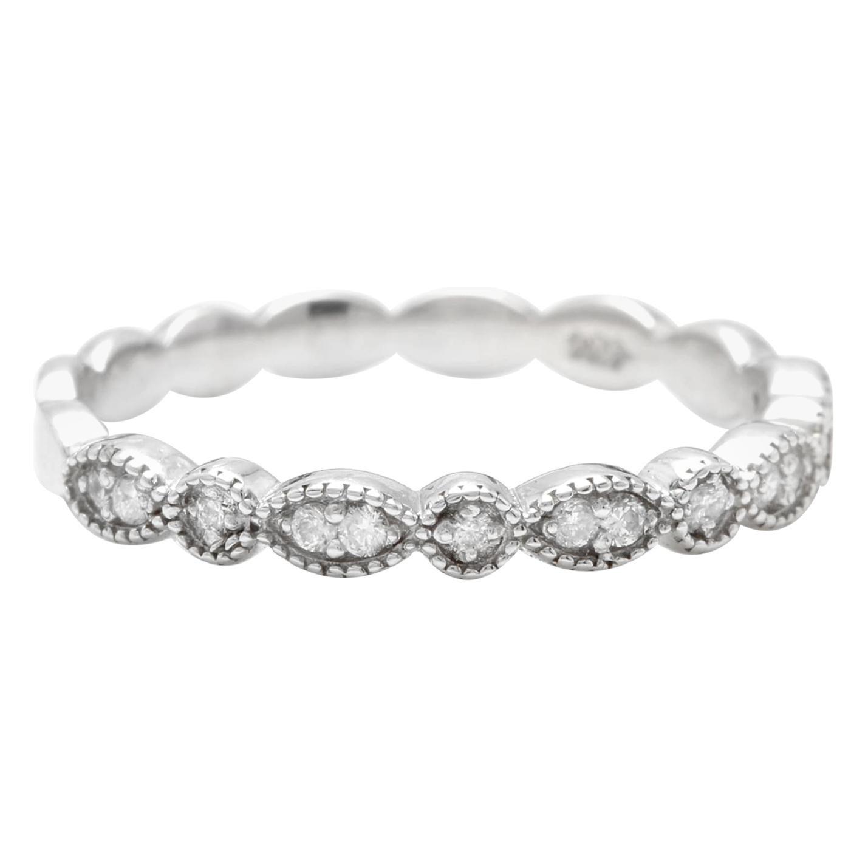 Splendid 0.16 Carat Natural Diamond 14 Karat Solid White Gold Ring