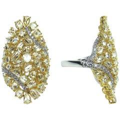 Splendid 18 Karat White and Yellow Gold, and Diamond Ring