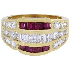 Splendid 18 Karat Yellow Gold Rubies and Diamonds Dome Ring