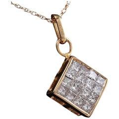 Splendid .90 Carat Natural Diamond 14 Karat Solid Yellow Gold Pendant Necklace