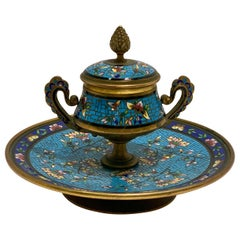 Splendid Antique French Encrier Champleve Enamel Gilt Brass Inkwell, circa 1880