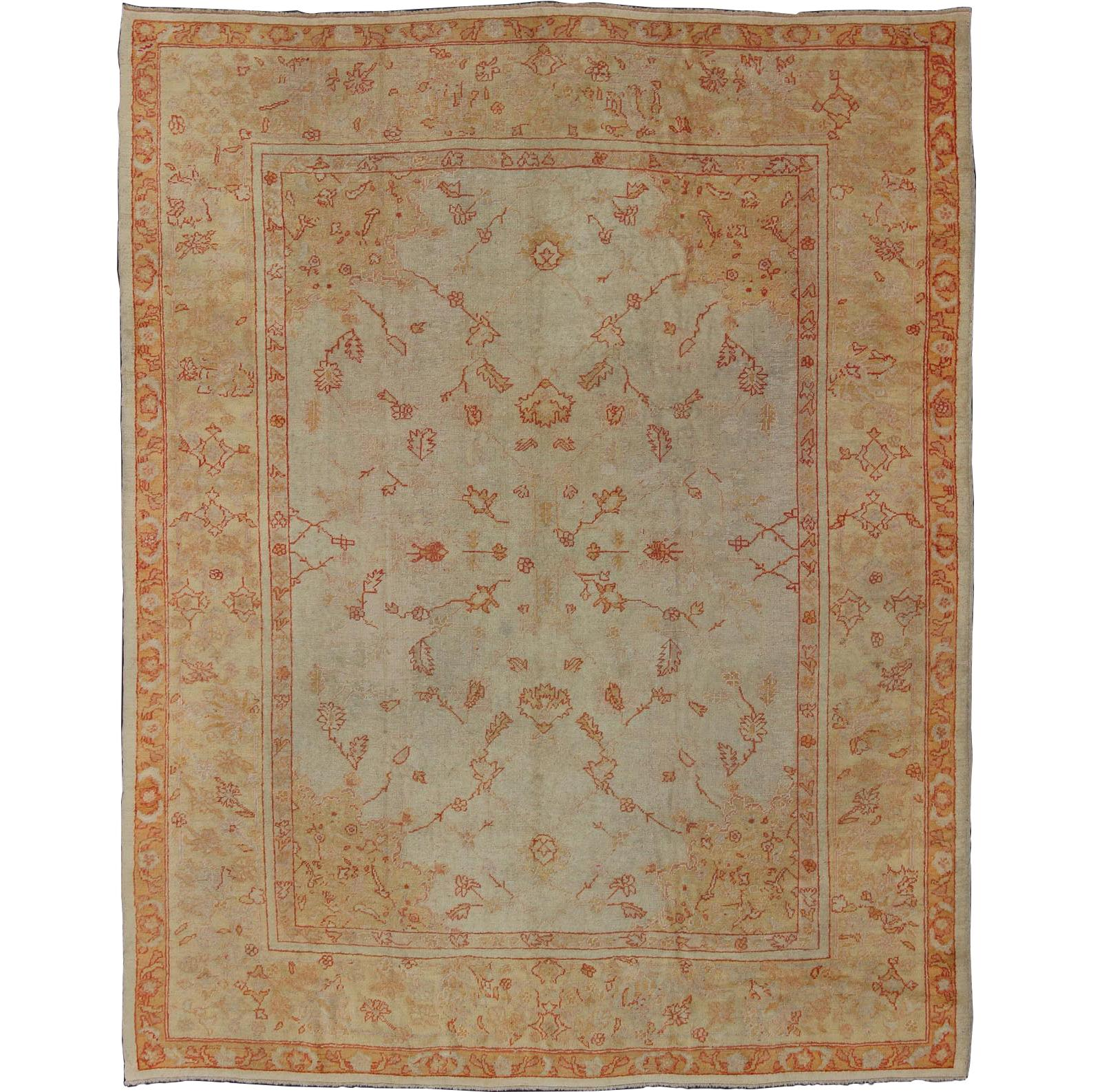 Splendid Antique Turkish Oushak Carpet
