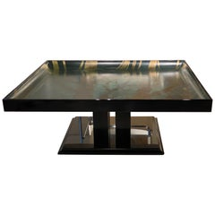 "Splendid Black Lacquered Table Rippled Surface, Painting ""after"" M. C. Escher"