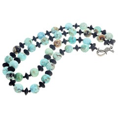 Gemjunky Blue Peruvian Opal &Onyx  Diamond Clasp Campaign Necklace