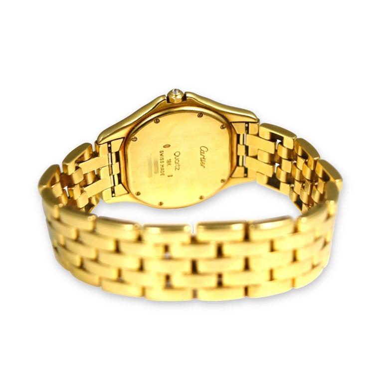 Modern Splendid Cartier Cougar 18k Yellow Gold Blue Diamond Dial Watch For Sale