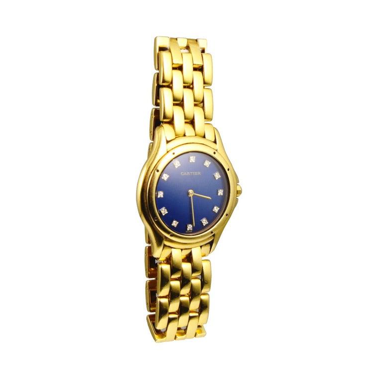Princess Cut Splendid Cartier Cougar 18k Yellow Gold Blue Diamond Dial Watch For Sale