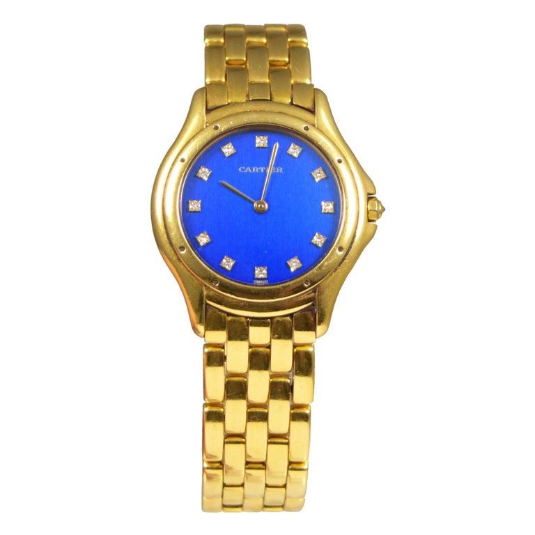 Splendid Cartier Cougar 18k Yellow Gold Blue Diamond Dial Watch For Sale