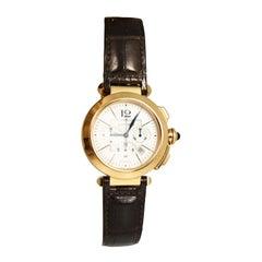 Splendid Cartier Pasha Chronograph Rose Gold Leather Straps Ref 2863