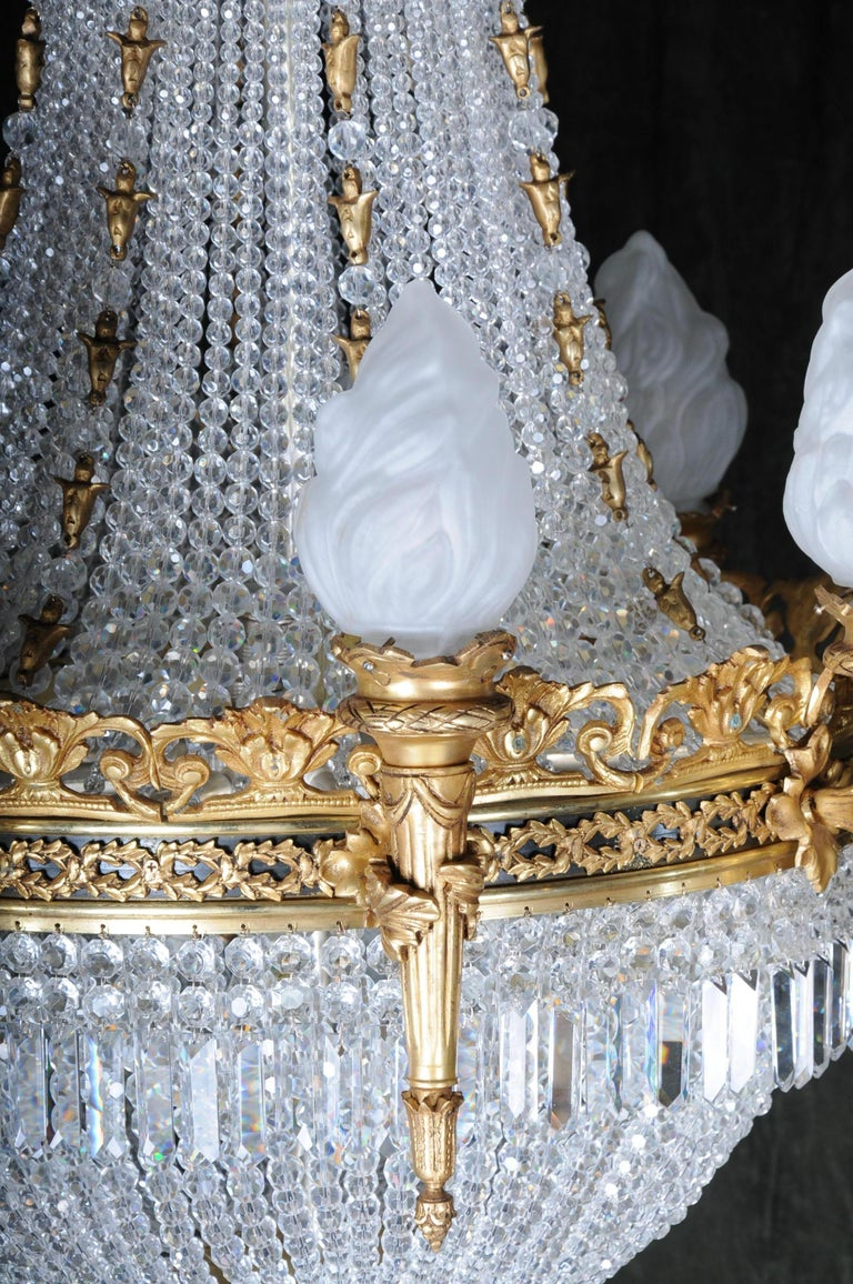 Brass Splendid Classicist Ceiling Candelabra/Chandelier Empire Style For Sale