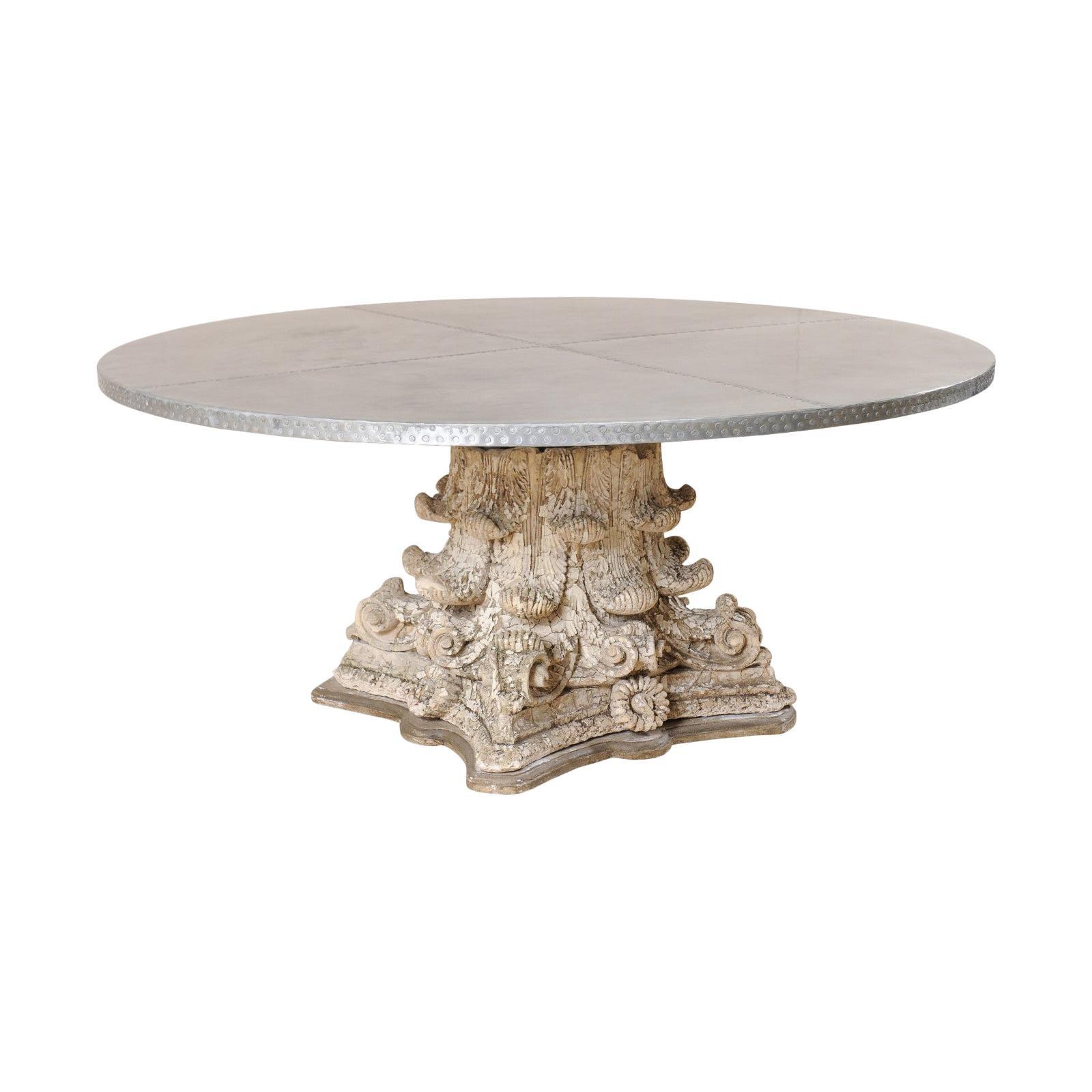 Splendid Custom Pedestal Table with Zinc Top and Early 20th Century Capital Base