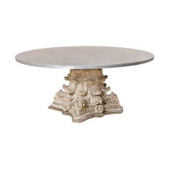 Splendid Custom Pedestal Table with Zinc Top and Early 20th Century Capital Base