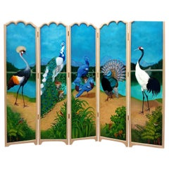 Splendid Five-Fold Screen Decorated on Both Sides with Exotic Birds
