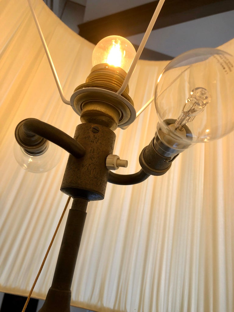 Splendid Floor Lamp Murano Etched Glass, 1950 For Sale 7