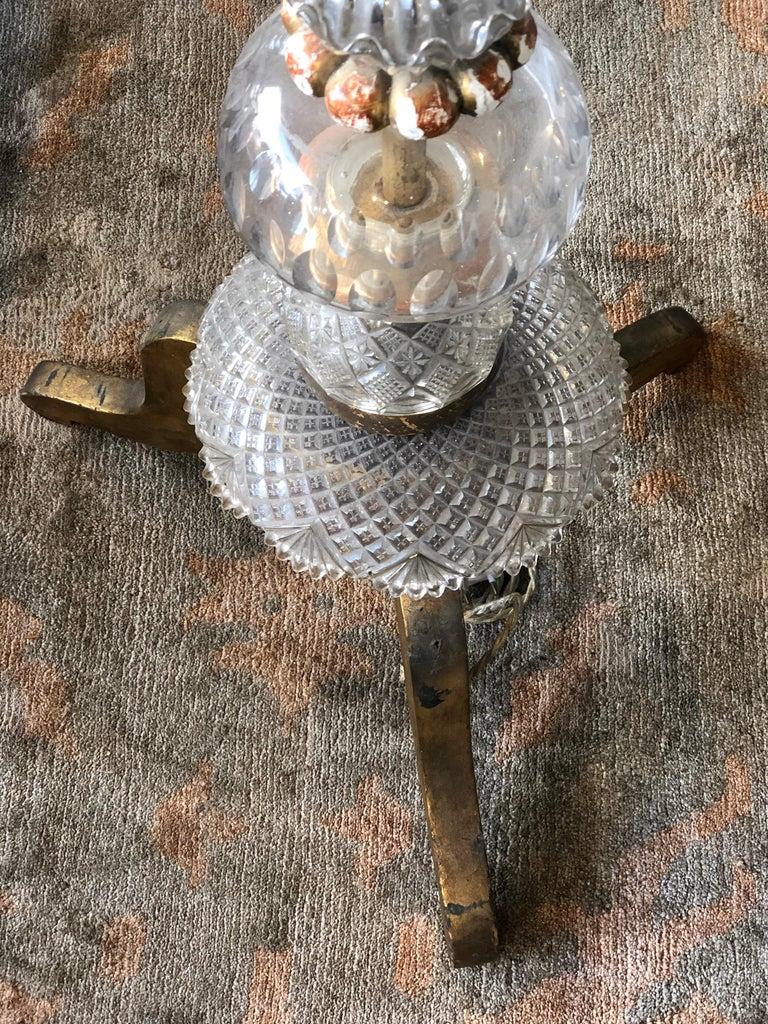 Italian Splendid Floor Lamp Murano Etched Glass, 1950 For Sale