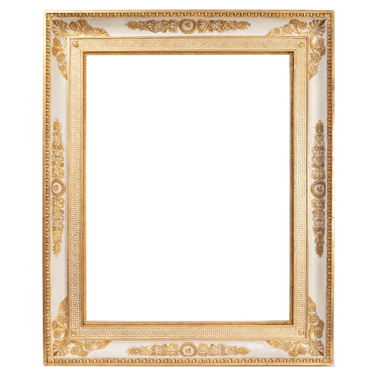 Splendid French Empire Carved Giltwood Frame or Mirror France Early 19th Century For Sale