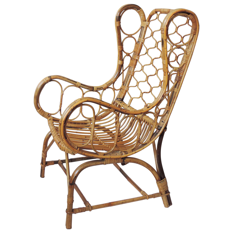 Splendid Italian 1950s Bamboo Armchair